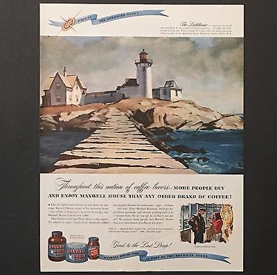 1947 Maxwell House Coffee Original Advertisement Color AD Lighthouse Art Vintage