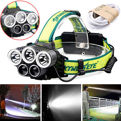 40000Lm 3 * T6 + 2 * XPE LED Lampe Frontale USB Rechargeable Headlamp Torch