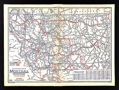 1930 Clason Auto Touring Road Map Montana & Yellowstone National Park Wyoming