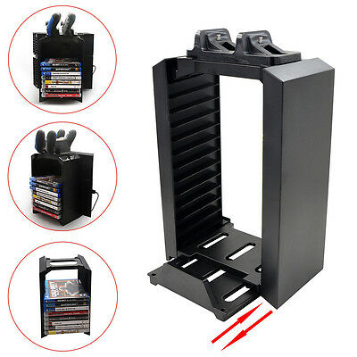 Vertical Stand Game Disk Storage Tower Dual Controller Charger Station for PS4