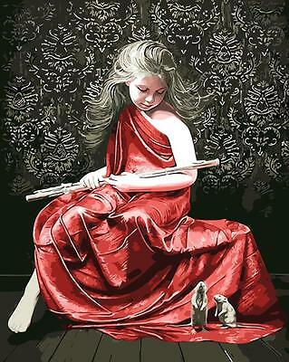Framed Painting by Number kit Piper With Red Dress Girl and Mouselet DIY BB7651