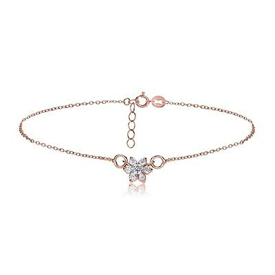 Rose Gold Tone over Sterling Silver Cubic Zirconia Flower Chain Anklet