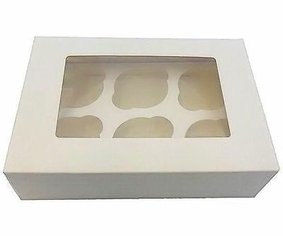 6 Cupcake box & insert with window x 25 bulk pack  muffin box FAST DELIVERY!