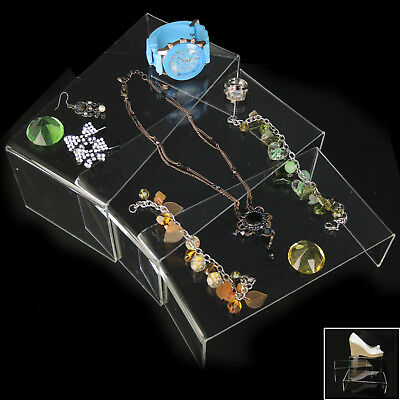 Set Of 3 Clear Stepwise Risers Bracelets Jewellery Retail Display Holder