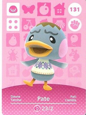 ANIMAL CROSSING amiibo KARTE: 131 - PATE (DAUNE) (Standartkarte/mint)