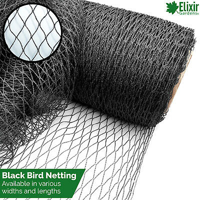 Black Bird Netting 2m, 4m, 6m, 8m, 12m, 14m, 20m Pond Garden Fruit cage Veg net