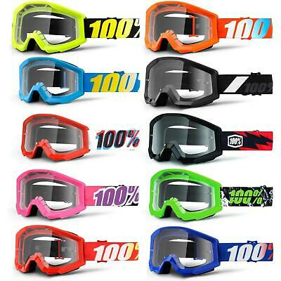 100% Prozent Strata JR Kinder Goggle Brille Klar DH MTB MX Downhill Mountain Rad
