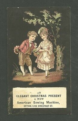 1880's Trade Card An Elegant Christmas Present A New American Sewing Machine