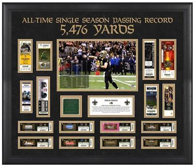 Drew Brees Saints Record Breaking Season Ticket Collage with Game-Used Turf
