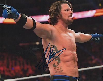 WWE - A J STYLES personally signed 10x8
