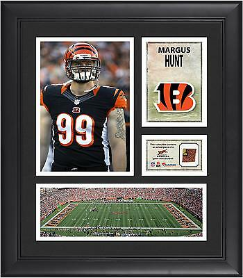 """Margus Hunt Cincinnati Bengals Framed 15"""" x 17"""" Collage with Game-Used Football"""
