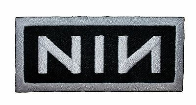 """Nine Inch Nails """"NIN"""" White Border Band Logo Metal Music Iron On Applique Patch"""