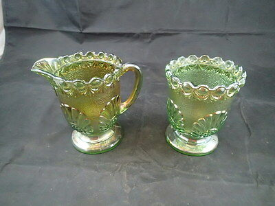 Creamer & Sugar Green Iridized Carnival Glass Set Shell and Jewel Westmoreland