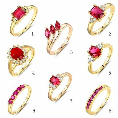 Red Ruby White Topaz Women's Wedding Band Rings Gold Filled Jewelry Sz 5/6/7/8/9