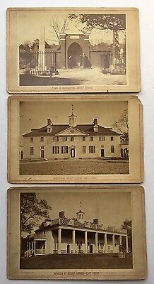 3 1880 MOUNT VERNON CABINET CARD PHOTOGRAPHS George Washington's Tomb NG Johnson