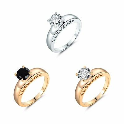 "Round White & Black Topaz""I Love You""Solitaire Wedding Rings Jewelry Size 5-9"