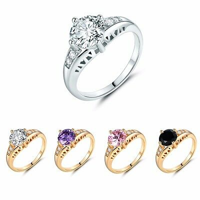 White Diamond-cut Purple Amethyst Solitaire with Accents Wedding Rings Size 5-9