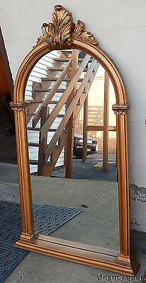 Vintage Shabby Chic Copper Gold Painted Wall Pier Mirror Carved Acanthus Leaves