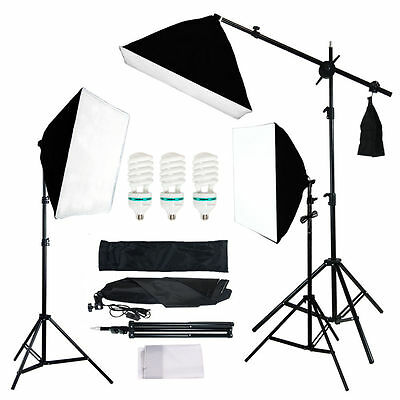 Photo Studio 3 Photograpy Softbox Boom Stand Video Continuous Lighting Photo Kit