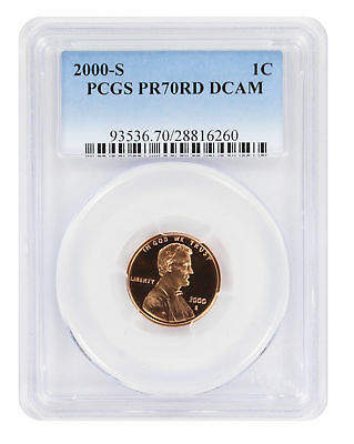 2000-S Lincoln Cent PR70RD DCAM PCGS Proof 70 Red Deep Cameo