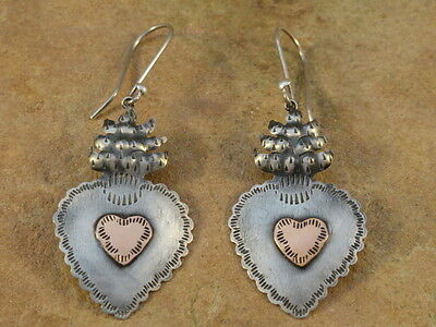 Mexican Mexico Sterling Silver & Copper Burning Heart Frida Earrings