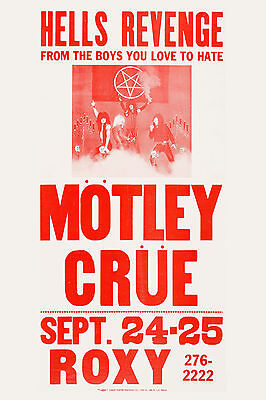 Motley Crue at the Roxy * Hell's Revenge * ROXY Concert Poster 1982  12x18
