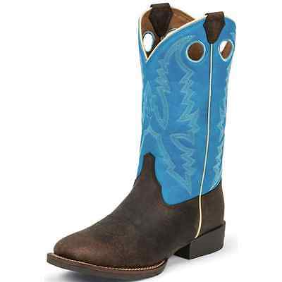 377JR Justin Kids Bent Rail Chocolate Brown Buffalo Western Cowboy Boot NEW