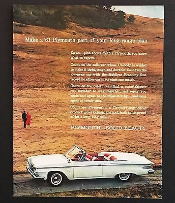 1961 Plymouth Fury Convertible Original Advertisement Photo Car Vintage AD
