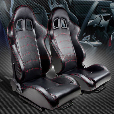 Reclinable Left+Right Black Vinyl Leather Red Stitch Sport Bucket Racing Seat