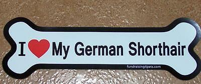 "I Love My German Shorthair Dog Bone Car Fridge 7"" Plastic Magnet Gloss White"