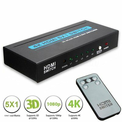 5 Port 5x1 4K HD 1080P HDMI Splitter Switch Switcher Hub AC Power Adapter HDTV