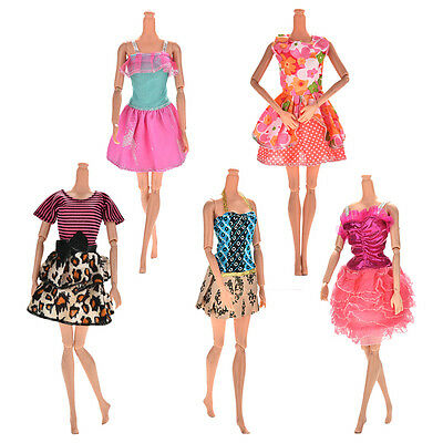 Lot 5 Pcs Handmade Wedding Dress Party Gown Clothes Outfits For Barbie Doll HU