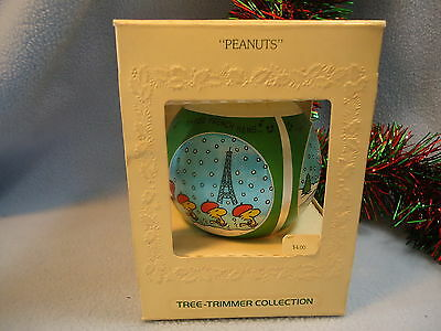 1980 Hallmark Christmas Ornament PEANUTS Satin Ball SNOOPY WOODSTOCK & Friends