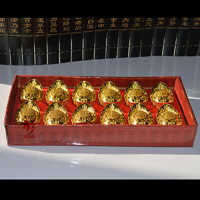 Feng Shui Gold Ingots Lucky Wealth Cures 24 Carat Gold-Plated Set Of 12