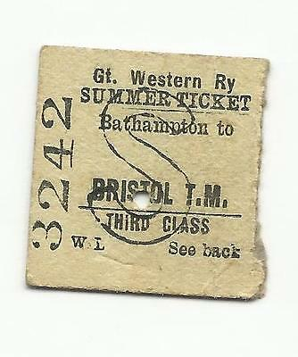 GWR ticket, Bathampton to Bristol Temple Meads, 1937
