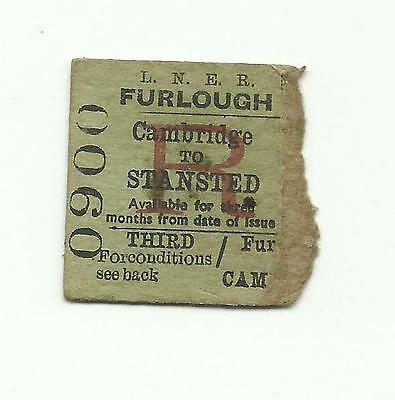 LNER ticket, Cambridge to Stansted, 1943