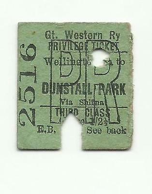 GWR ticket, Wellington to Dunstall Park, 1937