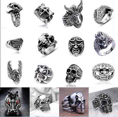 316L Stainless steel steam men punk ring gothic rings cool skull Men's Jewelry