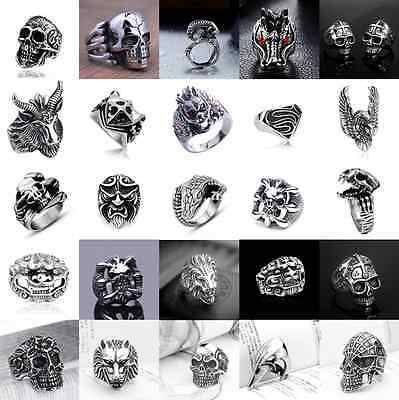 Fashion Stainless Steel Silver Men Punk Biker Skull Ring US Size 7 8 9 10 11 12
