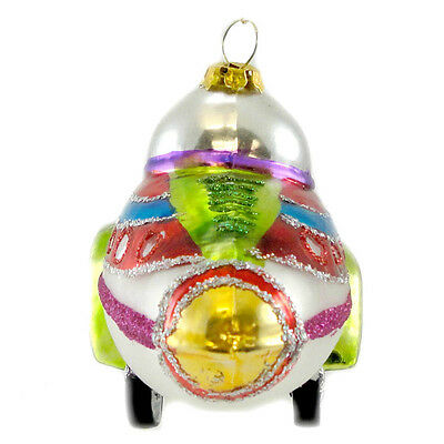 Holiday Ornament SPACE ORNAMENT Glass Spaceship Rocket Christmas FH0240 ROCKET