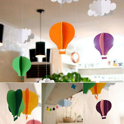 1Set Cloud Balloon Stereo DIY Felt Ornaments Room Nursery Decor Birthday Garland