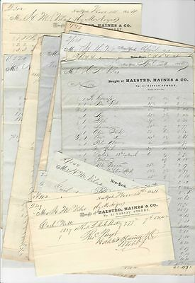15 Cloth & Trimmings & Textiles Billheads from Halsted, Haines & Co. New York