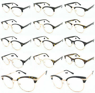 Round Clear Lens Glasses Retro Dapper Cat Eye Frame Vtg Men Women's Geek Hipster