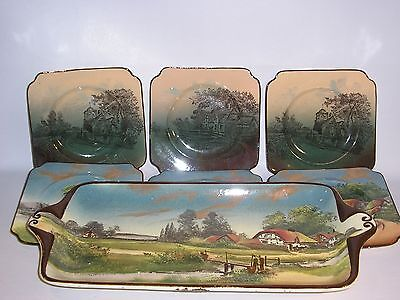 Royal Doulton Sandwich Set. Serving Plate and Six Side Plates. (English Cottage)