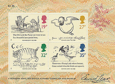 (95247) GB MNH Edward Lear Minisheet MS1409 Stamp World 1988  U/M Mint