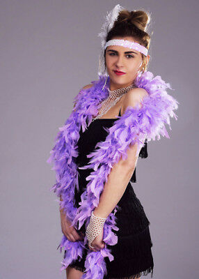 1920s Flapper Girl Lilac Feather Boa