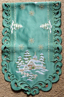 "Christmas Cottage Embroidered Oval Lace Table Runner 16""x36"""