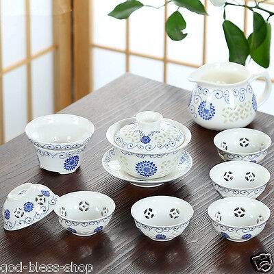 10pcs/lot Chinese tea set porcelain tea cups gaiwan sunflower cellular pitcher