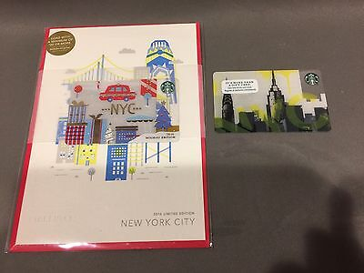 2 x Starbucks 2016 New York City NYC Skyline & Holiday Gift Card Limited Edition