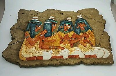 Egyptian BAS-RELIEF of Four Ancient Priestesses Original STONE SCULPTURE